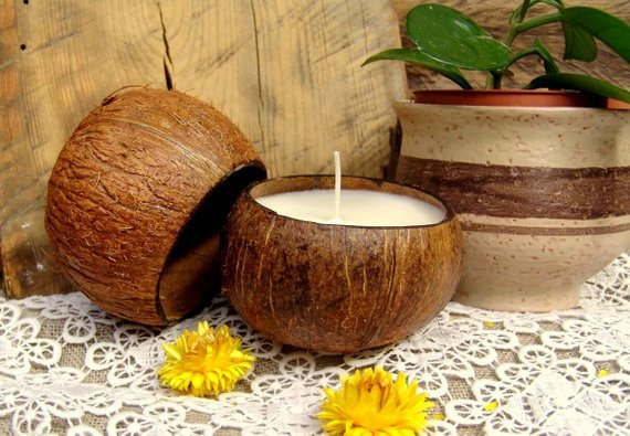 Big coconut shell candle